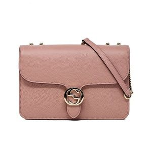 Gucci Medium Interlocking crossbody soft pink bag